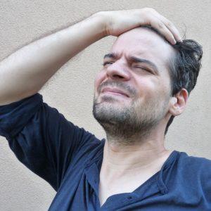 man stressing alot